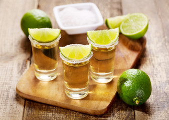 glasses of tequila with lime