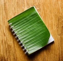 Notebook binding in green banana leaf
