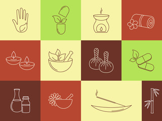 Linear icons for SPA, ayurveda, beauty treatment and health care