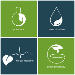 Set of icons with leaves for green pharmacy and herbal medicine