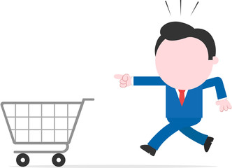 Businessman running and pointing to shopping cart