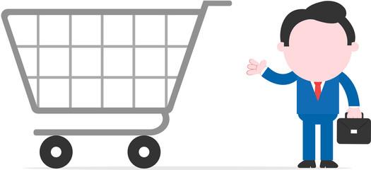 Businessman showing big shopping cart