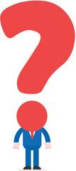 Question mark head businessman