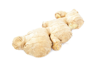 Ginger root on white background.