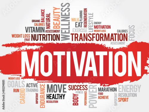 Fototapeta MOTIVATION word cloud, fitness, sport, health concept