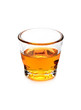 Glass of scotch whiskey isolated over white background
