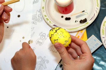 Easter painting. Painted Easter eggs with wax. A unique painting