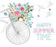 Watercolor flowers and bicycle - 80295289
