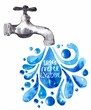 Watercolor faucet with water drops - 80295293