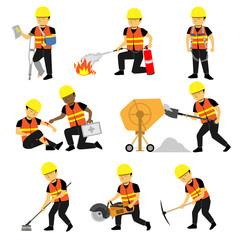 Construction Engineer Worker Builder Set Three