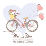 Wedding invitation - a bicycle for the bride