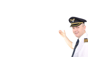 Happy pilot on white background