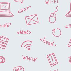 Seamless pattern with web symbols