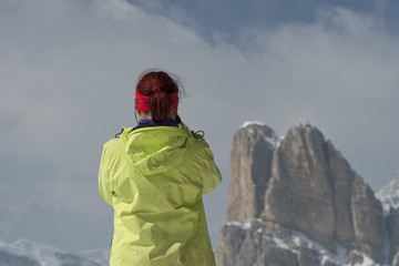 woman on dolomites in winter