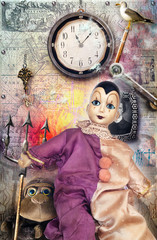 Macabre puppet with wall clock