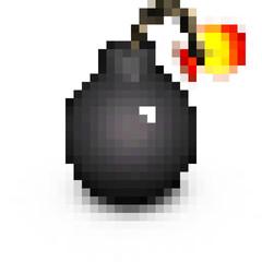 pixel vintage cartoon style pirate bomb on white