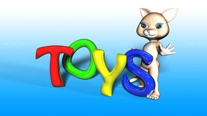 Toon Cat Figure with TOYS text