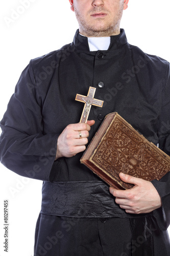 Poster Priest holding a cross and bibles