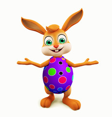 Easter Bunny with colourful eggs presentation pose