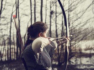 Medieval archery, woman shoot