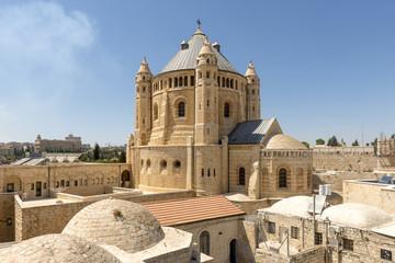 narrow streets of old Jerusalem. Armenian Church Cathedral