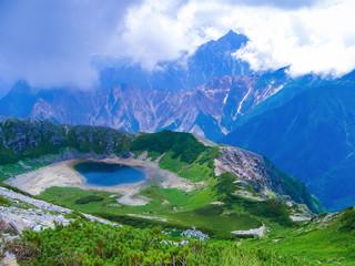鷲羽池と槍ヶ岳