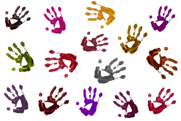 Colorful hands in a background.