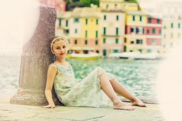 Portrait of lovely fashion girl in Portofino, Italy