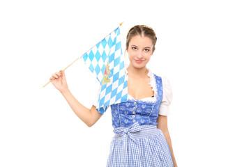 Bayrisches Mädchen mit Fahne
