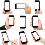 collection of hands holding the phone with isolated screen