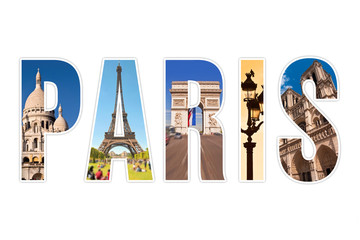 Paris letters with monuments isolated on white background