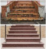 Renovierung einer Außentreppe vorher nachher
