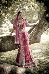 happy beautiful hindu Indian bride outdoors smiling having fun