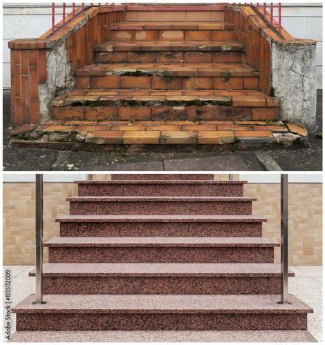 Renovierung einer Außentreppe vorher nachher - 80302009