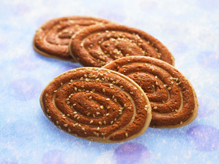 ear shape of cookies on the blue background