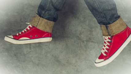 Loopable Stop Motion Animation of Young Person in Red Sneakers