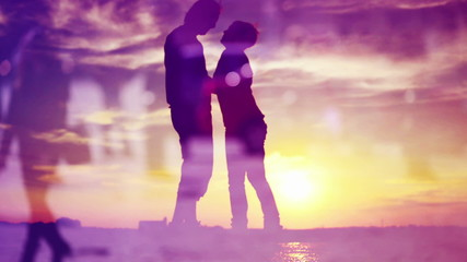 Silhouettes of Romantic Love Couple Meeting in Sunset Kissing