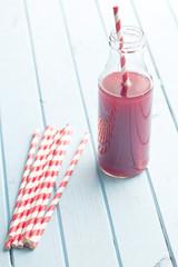 fruity juice in glass