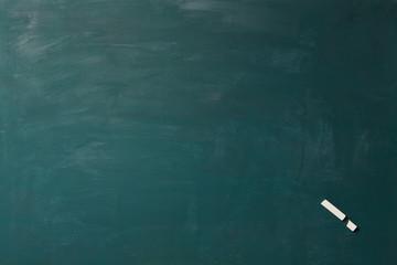 Tafel mit kaputter Kreide als Ausrufezeichen