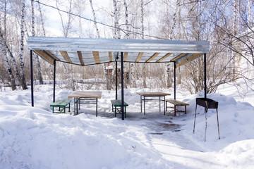 gazebo picnic area, winter