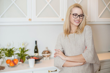 Young beautiful woman at home. Indoor portrait