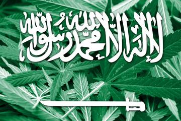 Saudi Arabia Flag on cannabis background. Drug policy