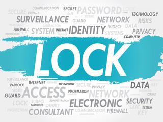 LOCK word cloud, security concept
