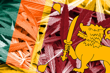 Sri Lanka Flag on cannabis background. Drug policy
