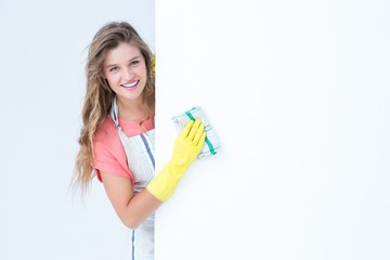 Hipster woman cleaning poster