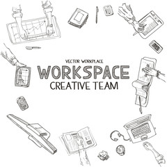 Teamwork, top view people hands sketch hand drawn doodle office