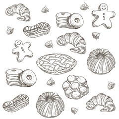 hand drawn sketch confections dessert pastry bakery products