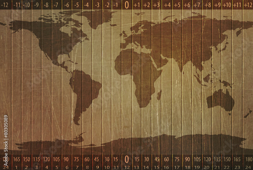 world time zones, world map, stone texture