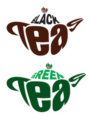 set vector logos from two teapots from letters