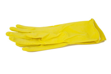 Latex cleaning gloves isolated on a white background